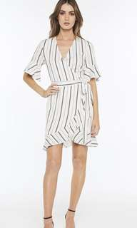 **PRICE DROP** Bardot stripe wrap dress