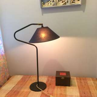 Vintage table Lamp with blue lamp shade