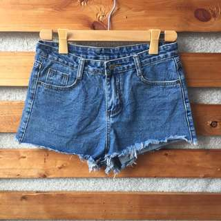 High Waist Denim Tattered Short