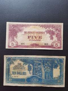 Old 1942-1945 Japanese Banana Money 5 & 10 Dollars Notes