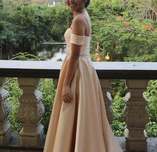 Champagne Long Gown For Rent