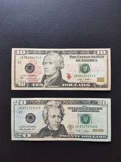 Old 2009 USA 10 & 20 Dollars Notes