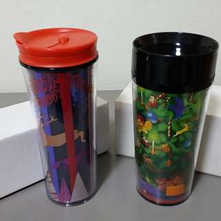 2 Brand New Starbucks Christmas Tumblers for sale at S$22