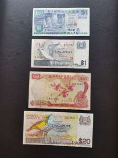 Old Singapore Bank Notes $1,$10,$20