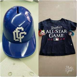 🚚 美國大聯盟衣服+麵包超人手環跟棒球帽存錢筒