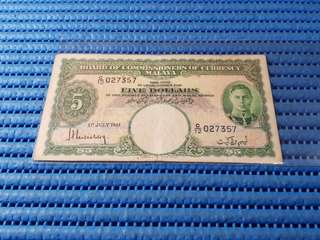 Board of Commissioners of Currency Malaya $5 Note C/12 027357 Dollar Banknote Currency