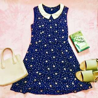 collared floral print sleeveless dress