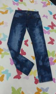 Blue Jeans with Faded Design