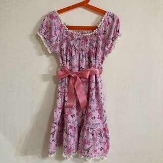 🚚 日本帶回女童粉色綁帶蝴蝶結洋裝(約適120-135)
