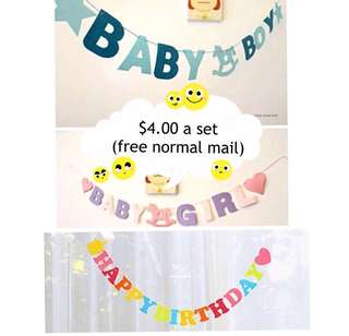 (23/5) Free normal mail - Baby Boy / Baby Girl Alphabet Hanging Banner / bunting Full Month/ Baby Shower/ Happy birthday   ( Lightweight)
