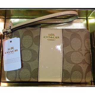 NEW Coach Signature Corner Zip Wrislet Coated Canvas With Leather Stripe