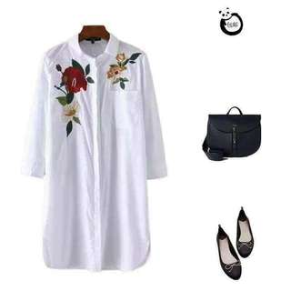 Embroidered polo dress