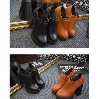European Women Classic Leisure Thick High Heels Zipper Leather Lita Boots