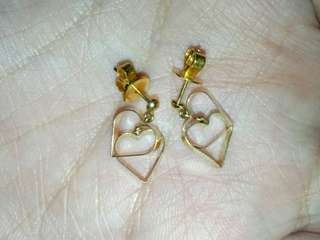 Slightly Negotiable Pawnable Genuine Japan Fine Jewelry 18K Gold Heart Earrings