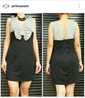 Topaz Dress black and polkadot
