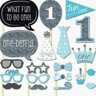 First Birthday Boy Party Photobooth Props