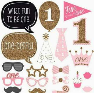 First Birthday Girl Photobooth Props
