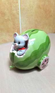 Little Mice Riding on a Watermelon ( Vintage Coins Bank )
