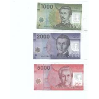 Chile 1000 ,2000 ,5000 Pesos 3pcs Polymer Banknote