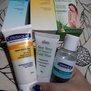 CELETEQUE TONER AND MOISTURIZER W/ GLAMWORKS HAIR REMOVAL COLD WAX