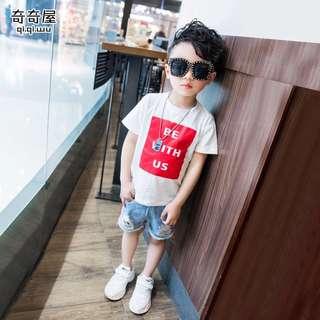 《預購》兒童字母短袖T恤夏裝新款男童韓版休閒短袖T恤童裝