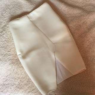 UNDO Clothing White Asymmetric Neoprene Skirt Size S