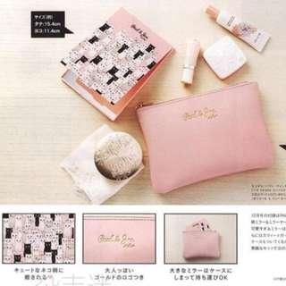 paul&joe 日本雜誌sweet12月號附錄特製 皮質 收納包 化妝包
