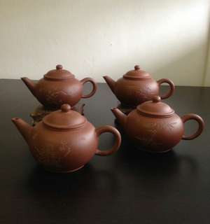 90年代梅兰竹菊水平壶 Zi Sha Teapot