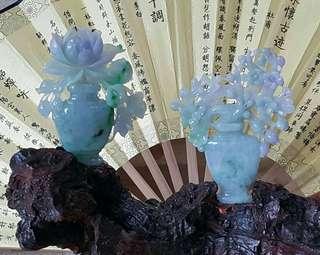 翡翠擺件花開富貴  吉祥花瓶 細糯種紫羅蘭春彩 種水細 水頭足