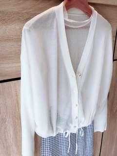 🚚 現貨 開襟式下擺抽繩針織薄外套 罩衫 冷氣衫 夏日遮陽防曬外套 可愛抽繩設計