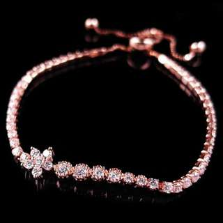bracelet BEAUTY / gelang tangan CUBIC ZIRCON PLATED ROSE GOLD FREE SIZE FOR WOMEN