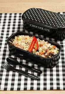 :CHOCOOLATE 黑底 白波點 飯盒 餐盒 便當盒 連匙叉 套裝