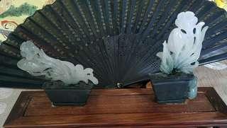 翡翠擺件花開富貴  吉祥花瓶 細糯種 紫羅蘭春彩 種水細 水頭足 工細緻