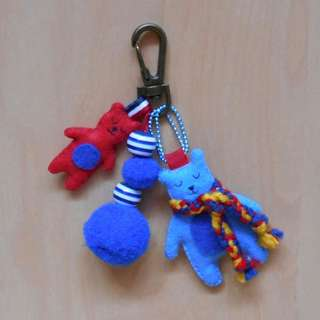 Red and blue bear plushies with lobster clasp