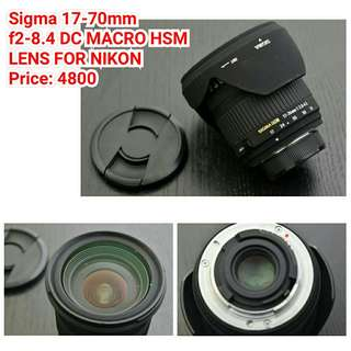 Sigma 17-70mm f2-8.4 DC MACRO HSM  LENS FOR NIKON