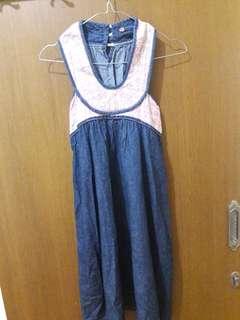 Preloved Mini Dress Korea Fit to L Mat Katun Tebel Halter Neck