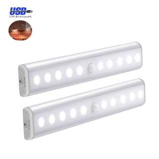 306. Motion Sensor Wardrobe Light ,Cupboard LED Lamp , USB Rechargeable Cabinet Lights Lamps 10LED YIGER,3 Light Modes(G,ON and OFF),Removable Magnet Stick-On Anywhere/ Closet/Stairs/Storage Room [Silver-2Pack] [Energy Class A++]