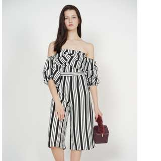 MDScollections Ruffled Pinstripes Jumpsuit in Black