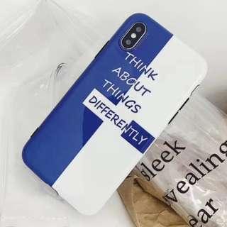 手機殼IPhone6/7/8/plus/X : 簡約藍與白字母全包黑邊軟殼
