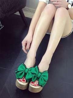 Ladies Cute Ribbon Slip On Platform Wedges Slipper