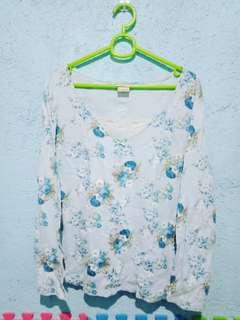 Floral Blue Blouse Longsleeves