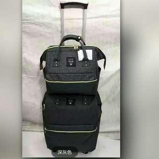 19吋多功能登機子母大口旅行拉杆箱 双肩可背4輪行李箱包