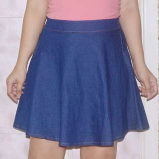 Denim Skater Flare Skirt
