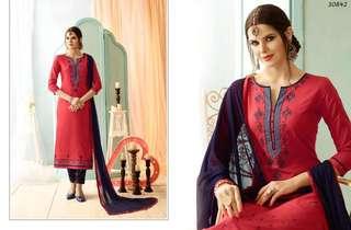 Congenial Cotton Embroidered Straight Cut Salwar Kameez