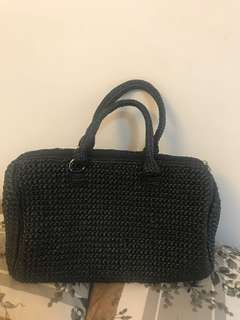 Black Woven Handbag