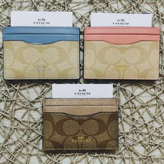 BN New Coach Card Holder Case Cardholder Metallic Pink Blue Brown White Gold Canvas Leather Auth Authentic