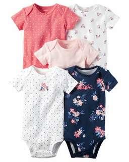 Brand New Instock Carter's 5 Pc Short Sleeve Bodysuits Onesies Rompers Girls