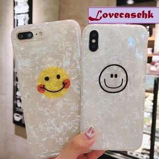 手機殼IPhone6/7/8/plus/X : 創意蛋黃笑臉全包邊貝殼紋軟殼