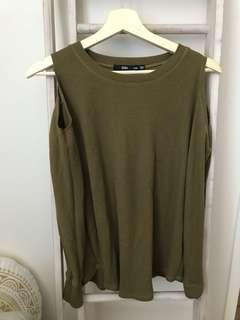 Sportsgirl green khaki cold shoulder top long