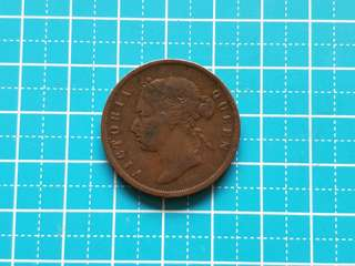 1874 Strait settlement Queen Victoria one cent coin